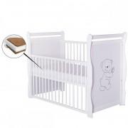 BabyNeeds Patut din lemn Jas Ursulet 120x60 cm cu laterala culisanta Alb cu Saltea 12 cm