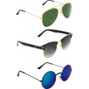 Abner Aviator, Clubmaster, Round Sunglasses(Green, Black, Multicolor)