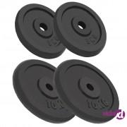 vidaXL Ploče za utege od lijevanog željeza 4 kom 2x10 kg+2x5 kg