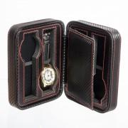 Cutie ceasuri voiaj piele carbon negru cu 4 spatii