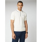 Ben Sherman Signature Textured Knit Polo Large Ivory