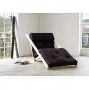 Inside75 Chaise longue futon scandinave VIGGO pin massif coloris gris foncé couchage 70*200 cm.