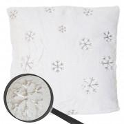 Deko-Kissen Schnee, Sofakissen Zierkissen mit Füllung, flauschig weiß Pailletten 45x45cm ~ Variantenangebot