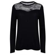 ONLY Kirsty LS Mix Top Box Jrs Black Lace Tricou de damă XS