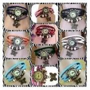 BUY ONE GET ONE FREE Fancy Vintage Multi-Colour Leather Bracelet Watch