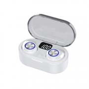 TW80 Digital Display Mini Bluetooth 5.0 Earphone Headset Headphone with Charing Bin - White