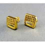 Zlaté náušnice žlté zlato tvar štvorca kamienky VA305