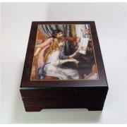 Böhme Musikspieluhren Bildschatulle 2 Mädchen am Klavier von Pierre Auguste Renoir, mit Spieluhr