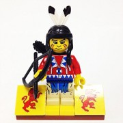 MinifigurePacks: Lego Western - Boulder Cliff Canyon Indian Bundle (1) Indian Brave - Running Bear (1) Figure Display Base (2) Figure Accessory's (Quiver & Bow)