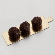 AZ boutique Languette rectangle or et noire en carton pour pâtisserie - 4,5 x 13cm - Lot de 250 - Carton à pâtisserie - AZ boutique