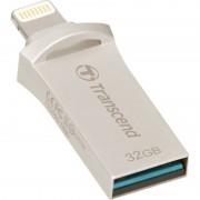 USB DRIVE, 32GB, Transcend JetDrive Go 500, Lightning&USB3.1, Silver Plating (TS32GJDG500S)