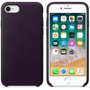 Apple iPhone Leather Case - оригинален кожен кейс (естествена кожа) за iPhone 8, iPhone 7 (тъмнолилав)