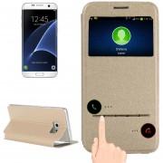 Para Samsung Galaxy S7 EDGE / G935 Horizontal Flip Funda De Cuero Con Soporte Y Llamada Pantalla Id (oro)
