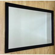 Black Gloss Ribbed 30X20 Bevelled Mirror