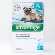 Advantage (Aqua) Medium Dogs 4-10kg (8.8-22lbs), 4 Pack