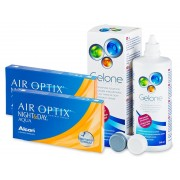 Air Optix Night and Day Aqua (2x3 лещи) + разтвор Gelone 360 мл.