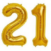 Stylewell Solid Golden Color 2 Digit Number (21) 3d Foil Balloon for Birthday Celebration Anniversary Parties