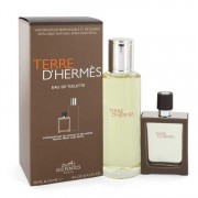 Hermes Terre D'Hermes Eau De Toilette 4.2 oz / 124.21 mL + EDT Spray Refillable 1 oz / 29.57 mL Gift Set Men's Fragrances 543059
