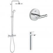 Pachet: Coloana dus Grohe New Tempesta 210-27922001, Baterie lavoar blat Grohe BauEdge XL-23761000, Agăţătoare Grohe BauCosmopolitan-40461001