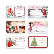 150 stk Självhäftande Till och Från Etiketter med Fina Julmotiv