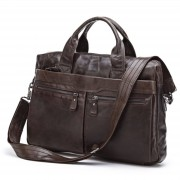 Delton Bags Braune Leder-Computertasche Mark