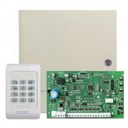 Centrala alarma antiefractie DSC PC 1404 cu tastatura PC1404RKZ si carcasa, 1 partitie, 4 zone, 39 utilizatori
