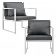 [casa.pro]® 2 x Kerti fotel szék 70 x 60 x 60 cm kerti bútor kültéri 2 darabos szett fehér