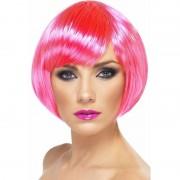 Smiffys Neon roze korte dames pruik boblijn