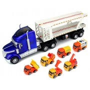 Super Construction Power Trailer Children's Friction Toy Truck Ready To Run Big Size w/ 6 Toy Construction Trucks...