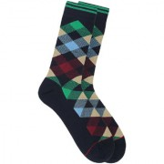 Soxytoes Return Of The Scotsman Blue Cotton Calf Length Pack of 1 Pair Argyle for Men Formal Socks (STS0018B)