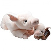 Aurora World Miyoni Stuffed Pig and Piglet Mom / Baby Set of 16 inch and 8 inch Plush