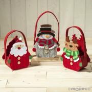 Cesta de fieltro jersey Santa Claus /muñeco de nieve y reno