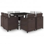 vidaXL Set mobilier de exterior 25 piese, poliratan, maro