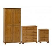 Antique Pine Bedroom Furniture Set (Bedside, 2+4 Chest, 2 Door Wardrobe)