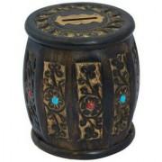 Triple S Handicrafts Black Barrel Shape Coin Bank (Multicolor)