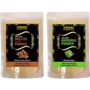Donnara Organics 100% Natural Mulethi(Licorice) Powder and Bhringraj powder Combo pack of 2 of 150 gms(300 gms)