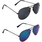 Zyaden Black UV Protection Aviator Unisex Sunglasses (Pack of 2)