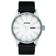 Nixon Sentry Leather Watch White Silver Black