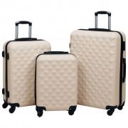 vidaXL 3 db aranyszínű ABS keményfalú gurulós bőrönd