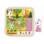 Janod puzzle din lemn pentru cei mai mici Familie de iepuraşi în grădină cu 5 componente 07084