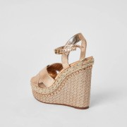 river island Womens Gold embellished wide fit wedge sandals (4)