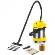 Прахосмукачка Karcher WD 3 Premium, Мокро и сухо почистване, 17 л, Маркуч 2 м, 1000 W, Хартиена филтърна торба, Жълт/Черен