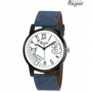 Mark regal white dail blue leather strap watch for mens