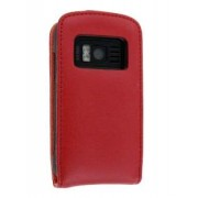 Genuine Leather Flip Case for Nokia C6-01 - Nokia Leather Flip Case (Red)