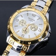 Rosara Round Dial Gold Silver Metal Strap Analog Watch For Men 6 month warranty