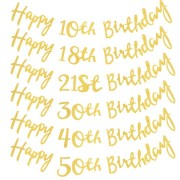 Twinkle Happy Birthday Banner Garland Age Hanging Gold Letters Decorations Bunting Flags Garland De