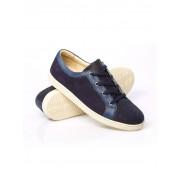 Walbusch Freizeit-Sneaker Leder-Mix Blau 42