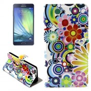 Colorful Daisy Flower Pattern Horizontal Flip Leather Case with Holder & Card Slots for Samsung Galaxy A7 / A700F