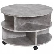 Homcom Tavolino da Caffè Rotondo con Ripiani in Legno Grigio Φ60x39.5cm