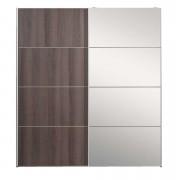 Schuifdeurkast Verona - grijs eiken/spiegel - 200x182x64 cm - Leen Bakker